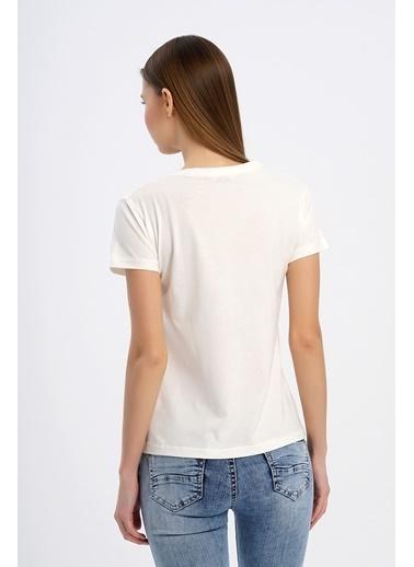 Nismia Taşlı Basic Tshirt Beyaz